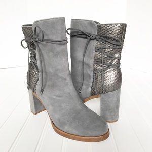 Johnston & Murphy Adley Boot Grey Suede Snakeskin